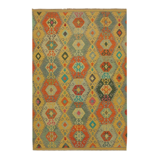 Felice Gold/Gray Hand-Woven Kilim Wool Rug -6'7 X 9'10 For Sale
