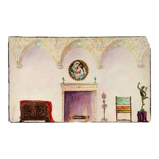 Renaissance Interior Watercolor Painting For Sale