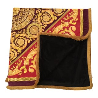 Gianni Versace Large Costom Made Velvet Throw With Gold Fringe For Sale