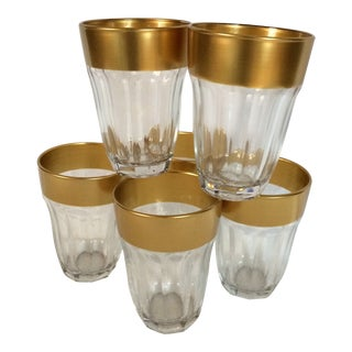 Elegant 18 Kt Gold 7 Ounce Crystal Wine or Juice Glasses -Set of 6 For Sale