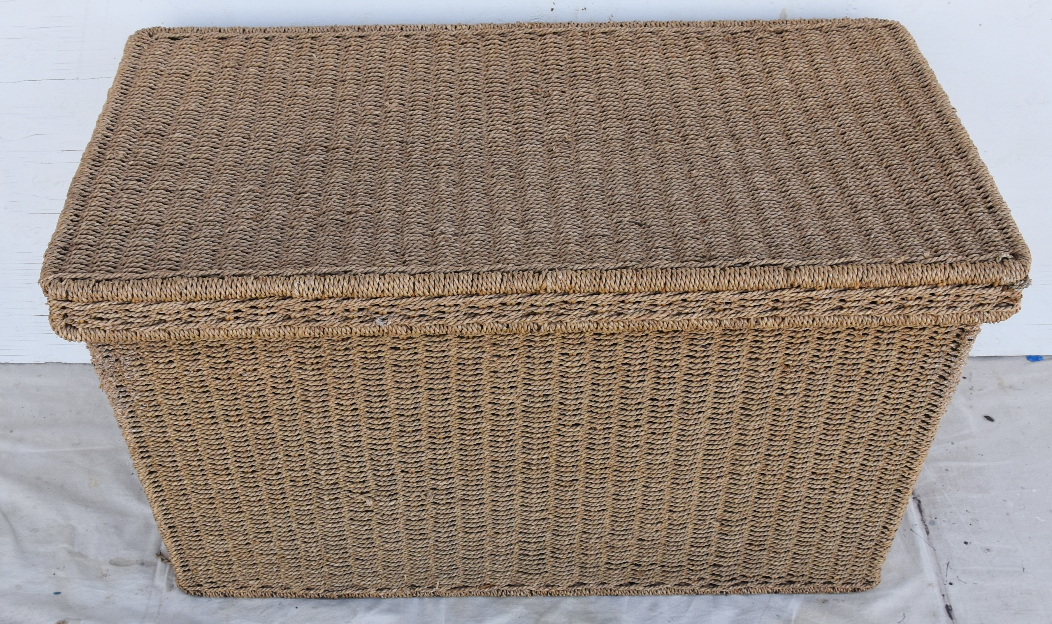 Vintage Hand Woven Seagrass Trunk Coffee Table With Removable Lid. Woven  Natural Seagrass Over