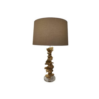 Large Driftwood Continental Home Lamp With Shade For Sale