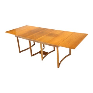 Midcentury Light Walnut Drop Leaf Expandable Dining Table, Three Leafs Boards For Sale