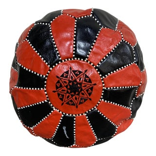 Black & Red Leather Moroccan Pouf For Sale