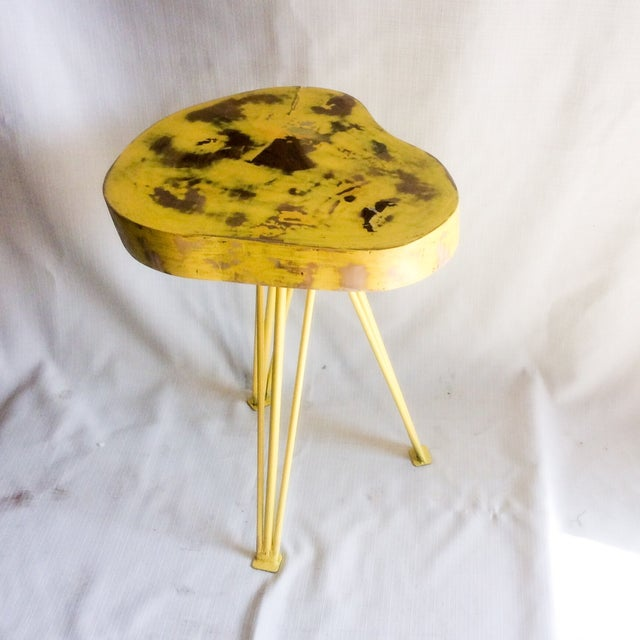Yellow Wood End Table - Image 5 of 6