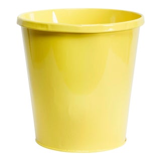 1940s Lit-Ning Products Metal Steel Trash Can Refinished in Gloss Yellow For Sale