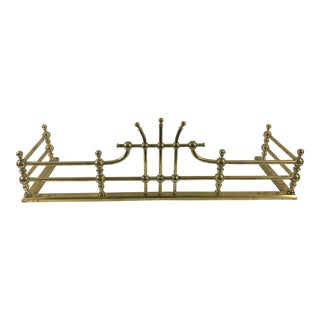 19th Century English Brass Fireplace Fender For Sale