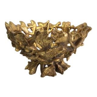 Art Nouveau Twisted Branch Gold Bowl For Sale