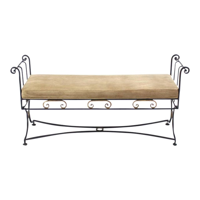 Wrought Iron Fine Ornate Design Hollywood Regency Window Bench New Upholstery For Sale