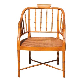 Vintage Hollywood Regency Faux Bamboo Chinese Chippendale Chinoiserie Chair For Sale