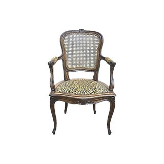 1900s Antique Cane & Leopard Armchair For Sale