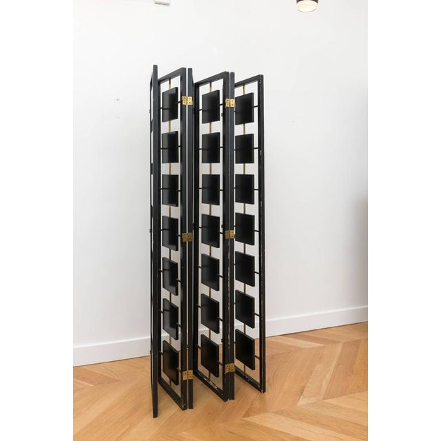 Brass & Black Lacquer Six-Panel Screen For Sale - Image 9 of 11