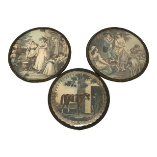 Early 20th Century Antique French Scene Coasters - Set of 3 For Sale