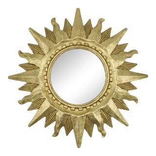 Mid Century Modern Gold Sunburst Mirror For Sale