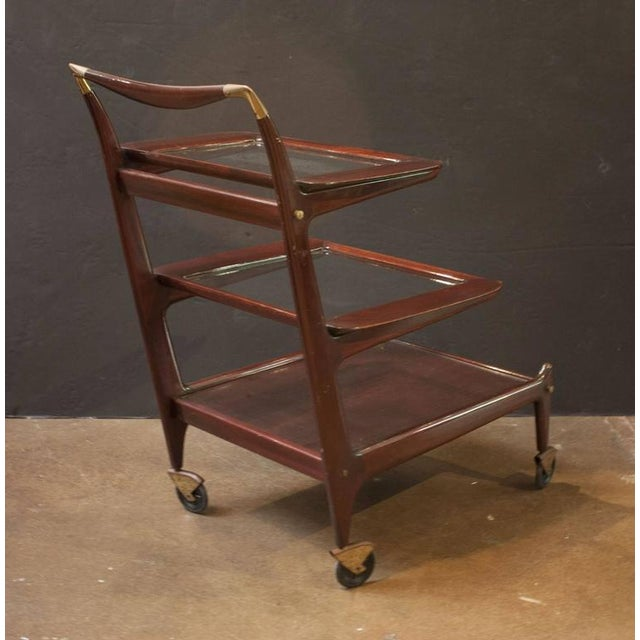 Italian Sleek and Sexy Italian Mod Rosewood Bar Cart by Cesare Lacca For Sale - Image 3 of 7