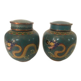 Chinese Cloisonne Covered 'Dragon' Ginger Jars - a Pair For Sale