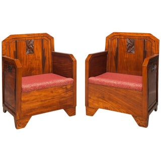 Pair French Art Deco Mahogany Red Club Armchairs, 1930 For Sale