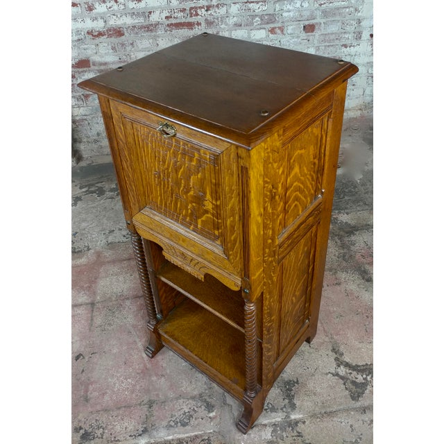Antique Victorian Oak Cabinet W/Hidden Jewelry Safe -Rare For Sale - Image 9 of 11