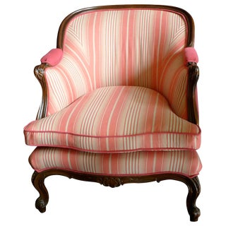 19th Century French Walnut Bergere Armchair Reupholstered With New Fabric. For Sale