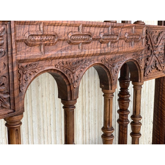 18th Spanish Bargueno of Columns With Foot Bridge, Cabinet on Stand For Sale - Image 11 of 13