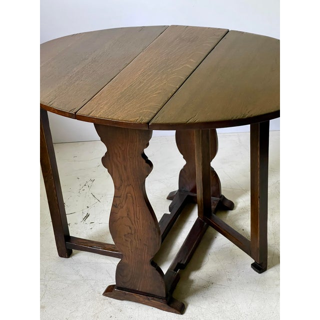 Wood English Dropleaf Trestle Table For Sale - Image 7 of 12