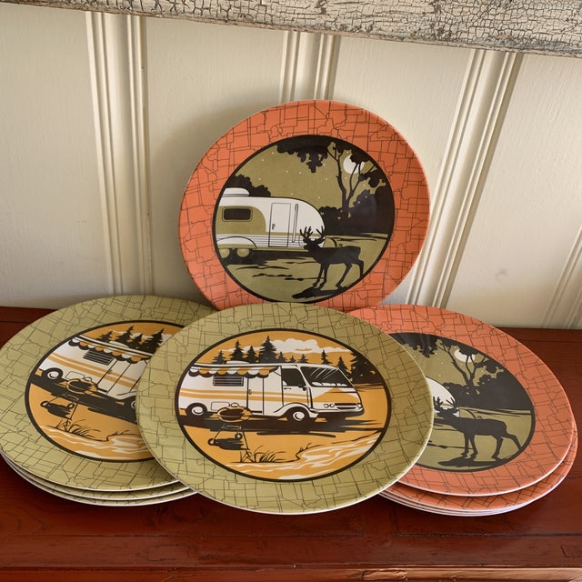 Camping Outdoor Dining Trailer Park Plates, Set of Eight For Sale - Image 11 of 12