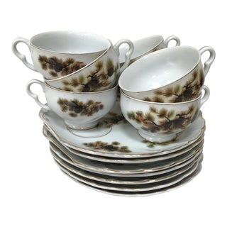 Mid-Century Rustic Branches and Pine Cones Porcelain Snack Plates and Cups - Service for 7 For Sale