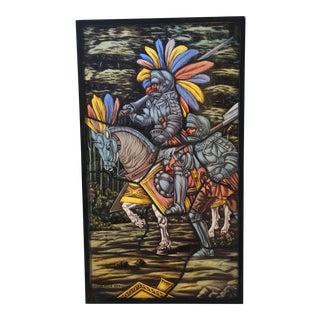 Mid 20th Century Jose De La Silva Stained Glass Knight Panel For Sale