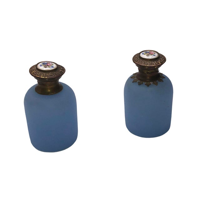 19th Century Antique French Blue Opaline Perfume Bottles - a Pair For Sale - Image 5 of 6