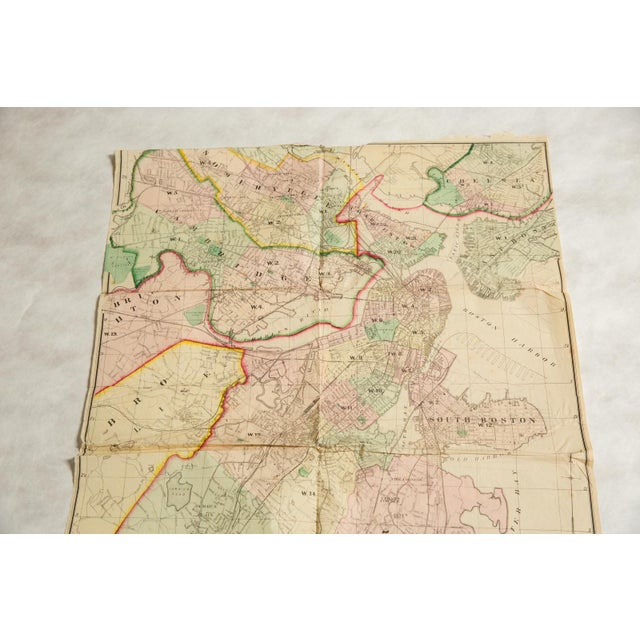 Shabby Chic Antique Folding Map of City of Boston and Its Environs 1874 For Sale - Image 3 of 11