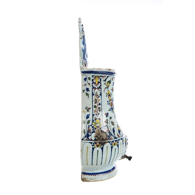 19th Century Antique Wall Pocket Enamel Fountain For Sale - Image 4 of 9