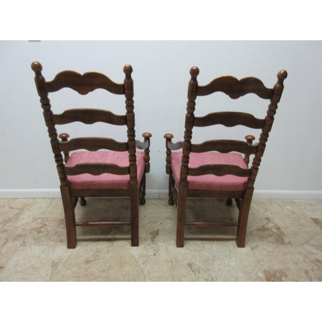 Pine Link Taylor Country Pine Ladder Back Dining Chairs - A Pair For Sale - Image 7 of 10