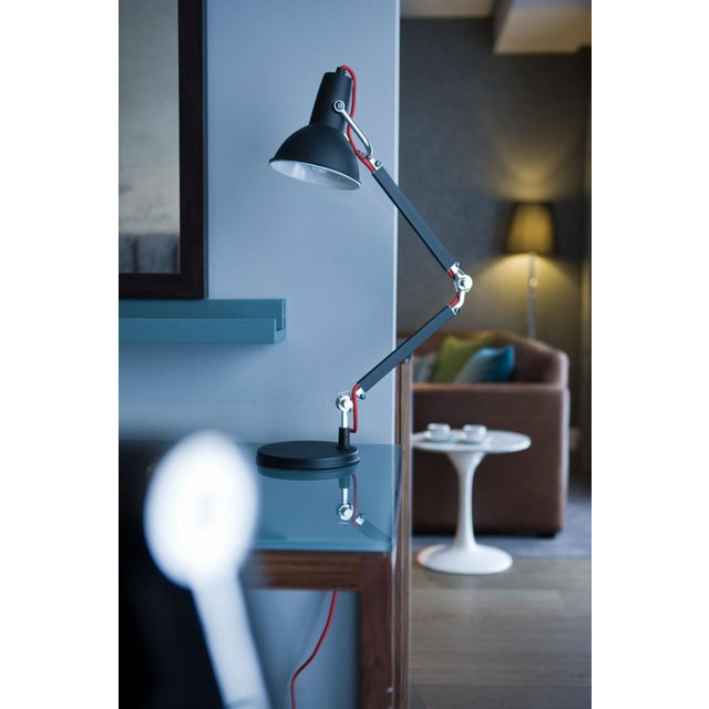 Mid-Century Modern Satin Black With Aluminium Accents Adjustable Desk Lamp For Sale - Image 3 of 5
