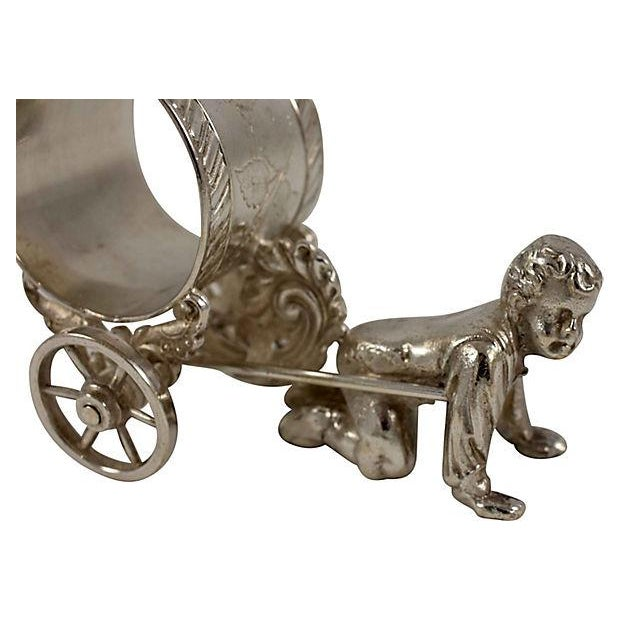 Traditional Victorian Boy & Cart Silver Figural Napkin Ring/Holder For Sale - Image 3 of 11
