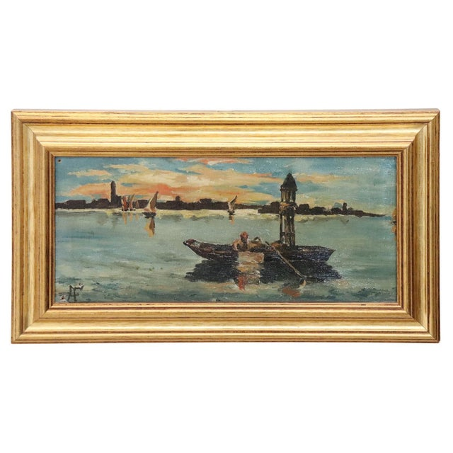 Canvas 20th Century Venice Oil Painting on Canvas With Golden Frame For Sale - Image 7 of 7