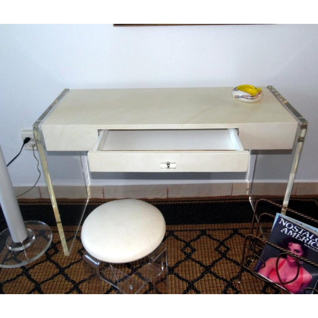Faux Goat Skin Finish Lucite Wood Desk For Sale - Image 10 of 11
