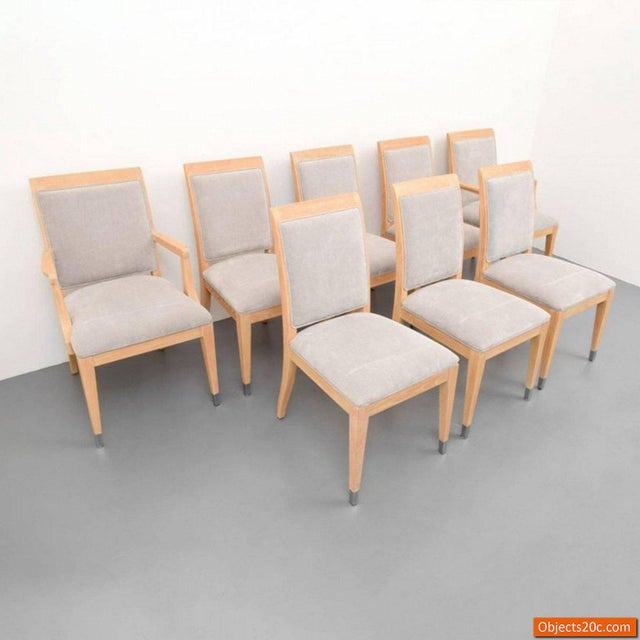 Set is comprised of two armchairs and six side chairs by Jay Spectre for Century Furniture Co. Markings: Century Furniture...