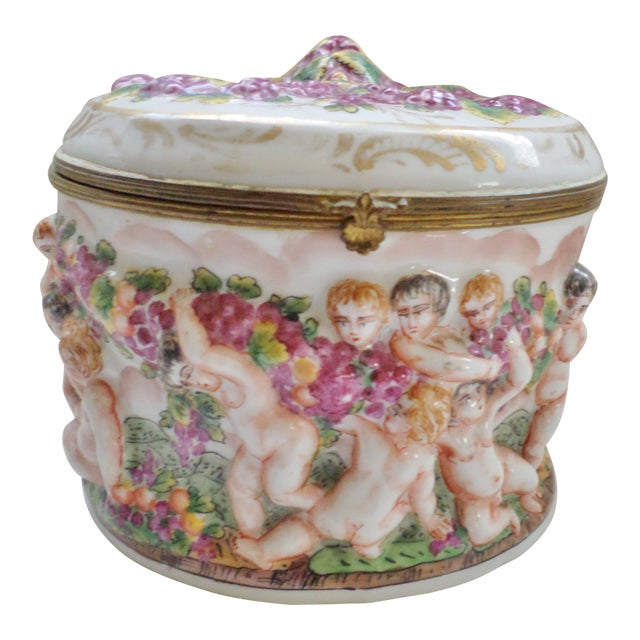 Early 19th Century Antique Signed Capodimonte Italian Hinged Box For Sale