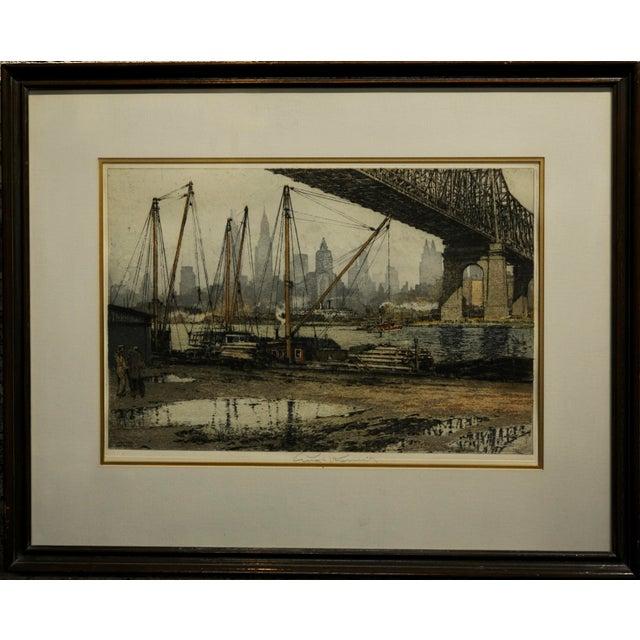 Luigi Kasimir -Queensborough Bridge New York-Original color etching c.1936 original color Etching Aquatint -Paper Under...