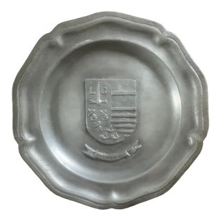 Vintage Belgian Pewter Wall Plate From Liege For Sale