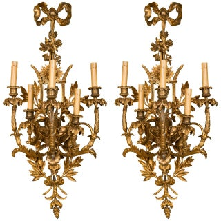 French Belle Epoque Style Wall Sconces - A Pair For Sale
