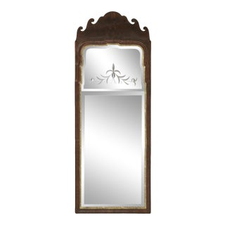 Antique Queen Anne Walnut and Gilded Mirror For Sale