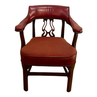 Vintage Mid Century Hickory Chair Company Red Leather and Mahogany Chair With Brass Studs For Sale