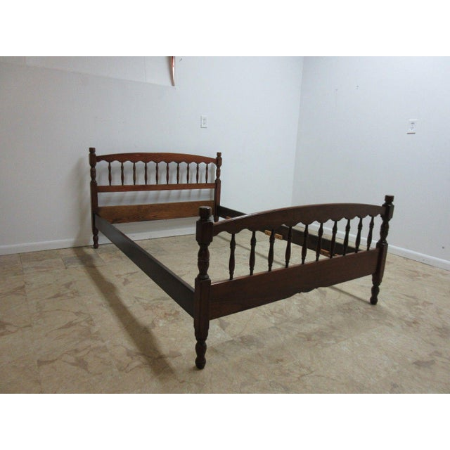 Stickley Cherry Spindle Carved Full Size Headboard Bedframe - Image 2 of 5