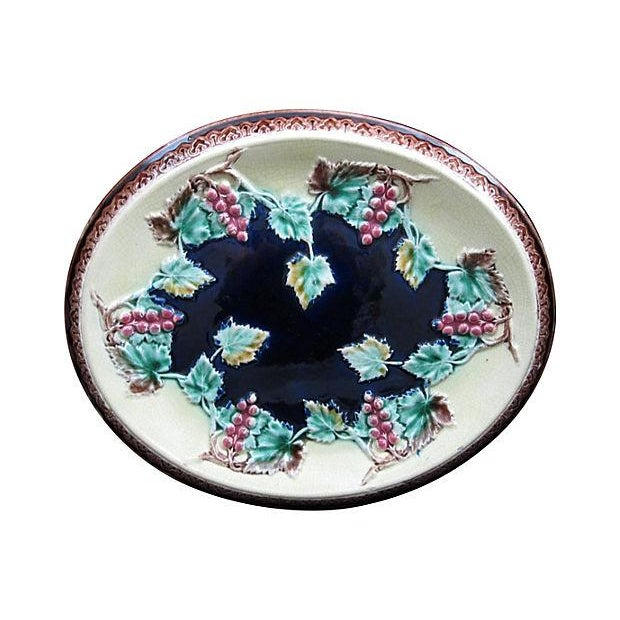 Antique 19th C. Majolica Gothic Grapevine Platter For Sale
