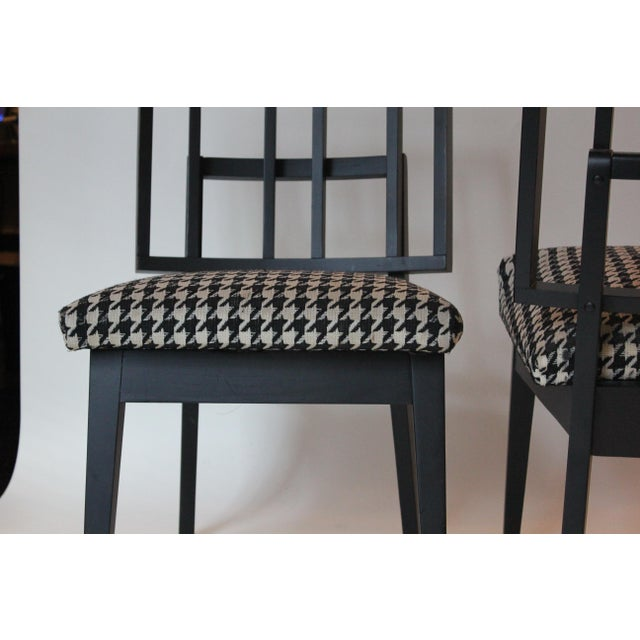 Late 20th Century Mid-Century Modern Griddled Back Black Wooden Side Chairs - Set of 4 For Sale - Image 5 of 6