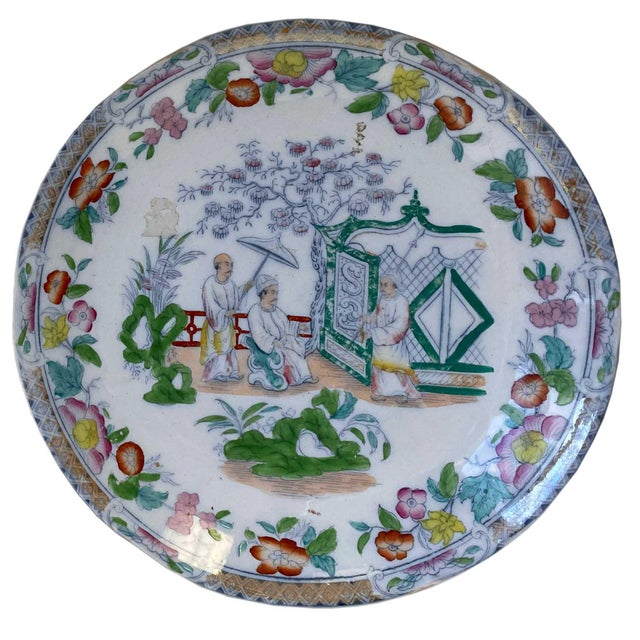 Chinese Figural Famille Rose Plates - a Pair For Sale - Image 4 of 8