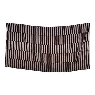 1940s Vintage Black & White Goat Striped Rug - 7′6″ × 14′ For Sale