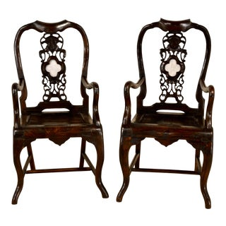 19th Century Pair of Asian Armchairs For Sale