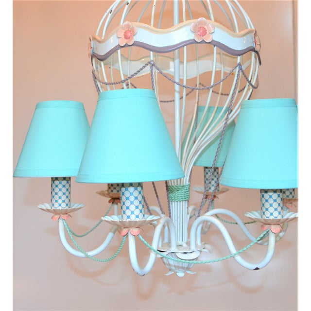 Children's 1960s Vintage Italian Tole Hot Air Balloon Chandelier For Sale - Image 3 of 12